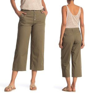 J. Crew Olive Green Button Fly Wide Crop Leg Pants